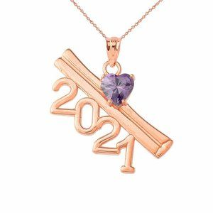 14k Rose Gold 2021 Graduation Birsthstone Necklace